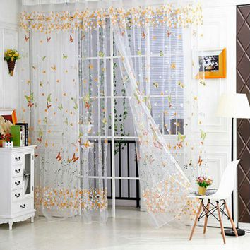 New style 100cm x 270cm Butterfly Print Sheer Window Panel Curtains Room Divider New style For Living Room Bedroom Decoration