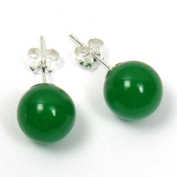Lucky 10mm Green Jade 925 Sterling Silver Stud Birthday Wedding Earrings