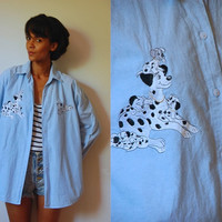 Vtg Dalmatians Stitched Light Blue Button Down Slouchy Shirt