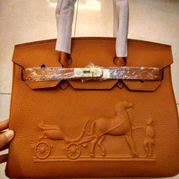 DCCK 010 Hermes horse-drawn cart Leather Fashion Handbag 30-22-16CM Brown 3