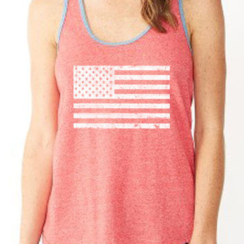 Two Sided Merica FLAG STARS and STRIPES tank. Patriotic Tank Fourth of July Tank America Tank