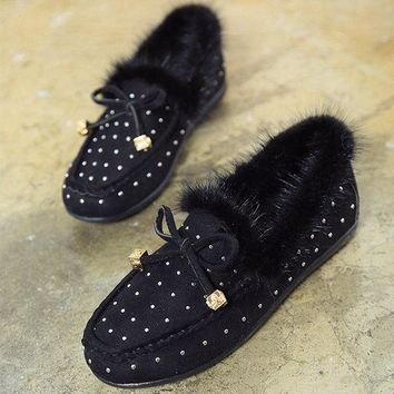 Furry Rivet Bowknot Warm Fur Flat Slip On Loafers