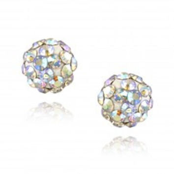 Sterling Silver Aurora Borealis Crystal Fireball Stud Earrings 6mm