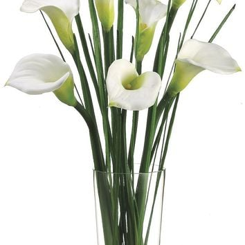 Lifelike White Calla Lilies in Faux Water Glass Vase