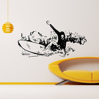 WALL DECAL VINYL STICKER SPORT SURFING SURFER SURFBOARDING DECOR SB504