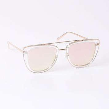 Quay Clear & Rose Gold Metal French Kiss Sunglasses