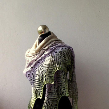 Hand knitted lace shawl, gradient summer  shawl.