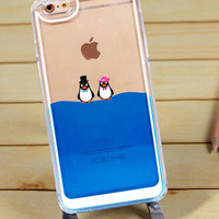 Iphone 6 Plus Case Dynamic Flowing Blue Liquid with 2 Cute Penguins, 4 Styles Clear Case for Iphone 5, 5S Iphone 6