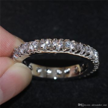 Fashion 925 Sterling Silver Jewelry Pave setting Round Zircon Simulated Diamond Gemstone Wedding Eternity Rings Bands For Women