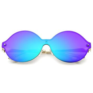 Oversize Retro Modern Mirrored Shield Lens Sunglasses A439