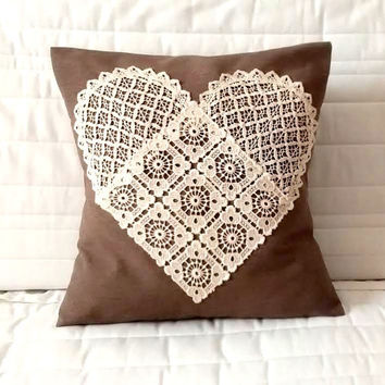 Lace heart pillow cover, heart pillow,  lace pillow, lace throw pillow,
