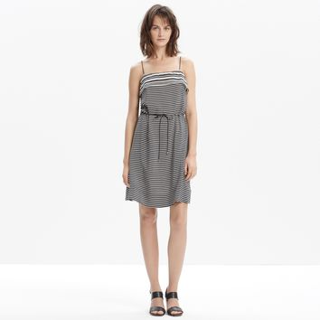 NWT Madewell Silk Striped Tie-Waist Dress, Size Small