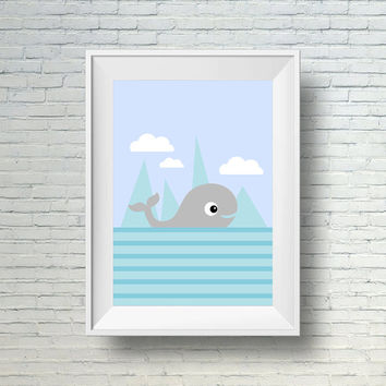 Whale Nursery Art, Blue And Gray Nursery Wall Art, Childrens Wall Art Print,