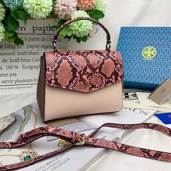 Kuyou Gb99822 Tory Burch Flap Cover Bag In Black Leather With Burgundy Snakeskin 57338 22cm*15cm*9cm