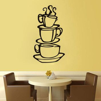 Coffee House Cups Removable Wall Decals