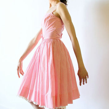 60s Lanz Party Dress, Pink & White Gingham Check Sundress, country western full circle schoolgirl rockabilly summer petticoat frock
