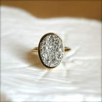 Silver Oval Druzy Gold Ring