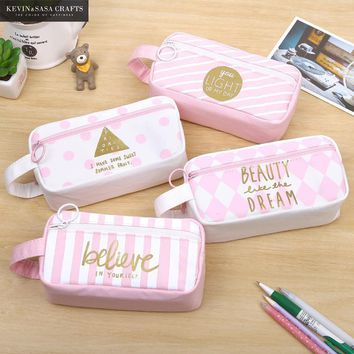 Pencil Case Super Big Words Canvas School Supplies Pink Stationery Gift School Cute Pencil Box Pencilcase Pencil Bag Students