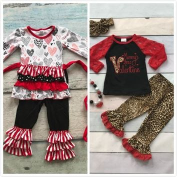 cotton V-day boutique baby girls kids outfits mommy's little Valentine clothing ruffles leopard heart print match accessories