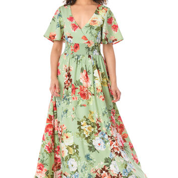 Floral print smocked waist crepe maxi dress