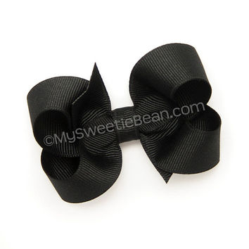 "Black Hair Bow, 3 inch Boutique Bow, Medium Bow, Basic Hair Bow, Ebony, Grosgrain Hairbow for Toddlers, 3"" bow for Baby Girls, Black Bow"