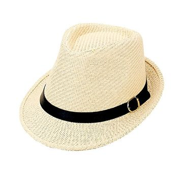 Neutral Black Belt Trim Straw Fedora Hat