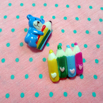 KAWAII bright vintage 80's pop TEDDY pencils brooch BADGE set of 2!