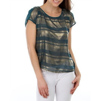Stripe Chiffon Hi-Lo Top With Tied Open Back