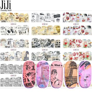 12 Designs 2017 Retro Design Watermark Nail Sticker Water Decals Slider Flower Tattoos DIY Full Cover Wraps Tools JIBN565-576