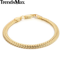 Trendsmax 6mm 21cm Womens Mens Chain Unisex Snake Chain Hammered Close Curb Link Yellow White Rose Gold Filled Bracelet GB391