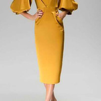 Golden Half Lantern Sleeve Midi Dress