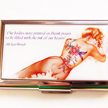 Business Card Case, Tattoo, Card case, business card holder, Card case for her, Tattoo woman, pin up, body ink (4449)