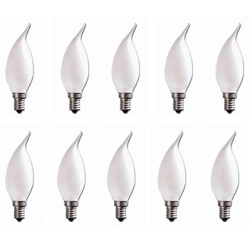 E14 Flame Tip Chandelier Candle Globes - Pack of 10 Frosted