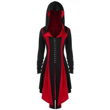 Gothic Hooded Dress Women Retro Vintage Renaissance Punk Costume Medieval Gown Dresses 2018
