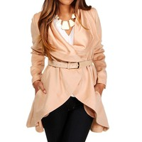 Pink Ruffle Collar Belted Jacket