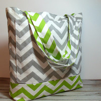 Gray and Green Tote, Summer Beach Bag, Chevron, Large Pockets