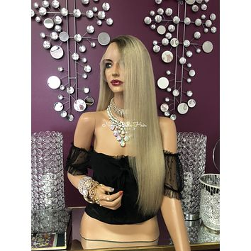 Ombre' Natural Blonde Full Lace Wig 20"