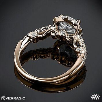 18k Rose Gold Verragio Half Eternity Halo Diamond Engagement Ring