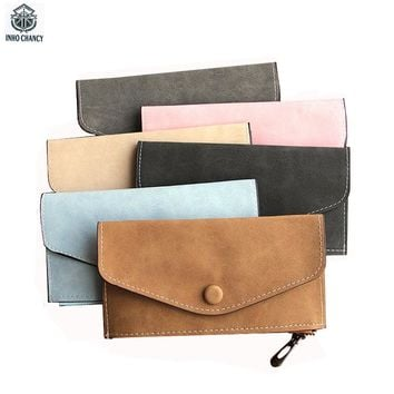 INHO CHANCY Ultra Thin Matte Leather Long Women Wallet Vintage Envelope Female Coin Purse Fashion Card Holder Zipper Phone Pouch
