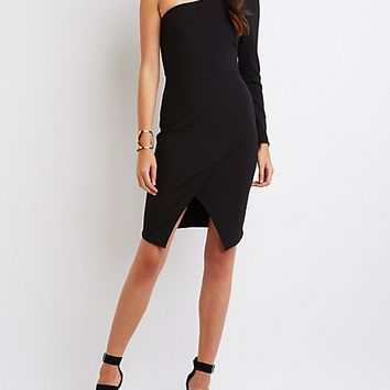 Textured One-Shoulder Bodycon Dress