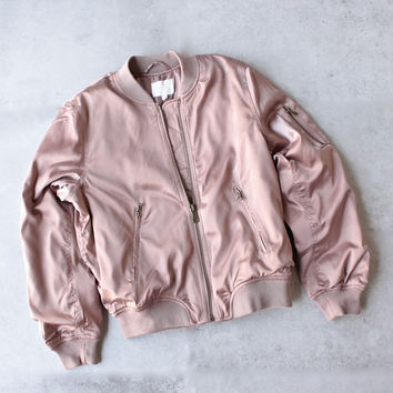 padded satin bomber jacket - mauve