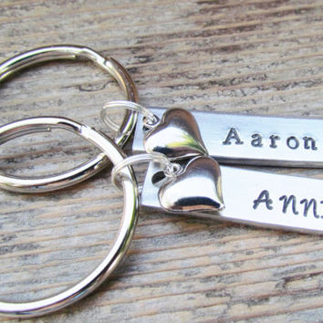 TWO Key Chains SMALL Tags NAME Date Couples Hand Stamped Aluminum Metal Keychain Key Ring Wedding Anniversary Engagement Heart Charms