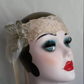 Roaring 20s, art deco, winter, Christmas wedding, great gatsby, headddress, headpiece, headband, FREE SHIPMENT