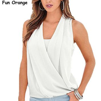 DCC3W Fun Orange New Fashion Women Tank Tops Summer New Arrival Solid V-neck Chiffon Stitching Knitted Tops