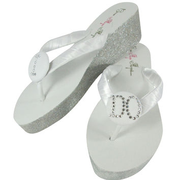 I Do Swarovski and Glitter Wedding Wedges  - White & Silver or choose colors - best selection price, size and colors