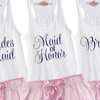 Bachelorette Party Tanks Tops,  Set of 6, 7, or 8 Racerback Tanks, Bride, Maid of Honor, Matron of Honor. Bridal Party Tank Tops