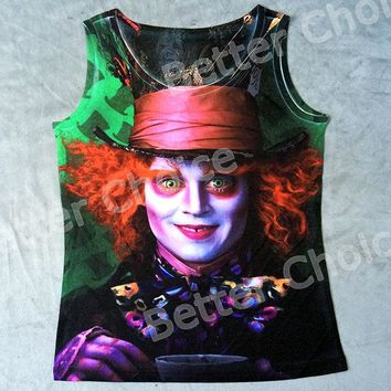 Track Ship+Vintage Fashion Retro Cool Vest Tanks Tank Tops Camis Alice Wonderland The Mad Hatter Gentleman With Tea 0861