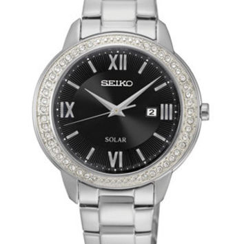 Seiko Ladies Recraft Swarovski Crystal Solar - Black Dial - Stainless Steel Case