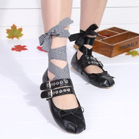 Punk Style Lace Up Metal Buckle Bowtie Flat Ballet Shoes