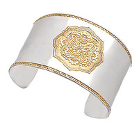 Baroni Gold and Silver Wide Cuff Bracelet - Max & Chloe